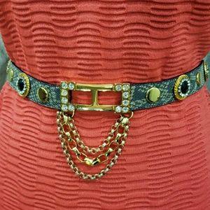 Leatherock Embellished Snakeskin Pattern Belt